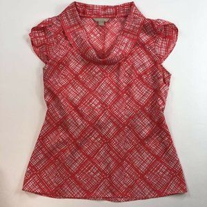Banana Republic Womens Blouse Red Diamond Lines M